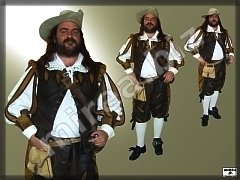 Mens' Baroque Leather military costume