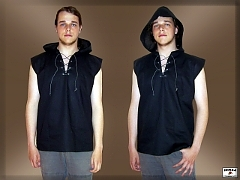 Cotton shirt with hood